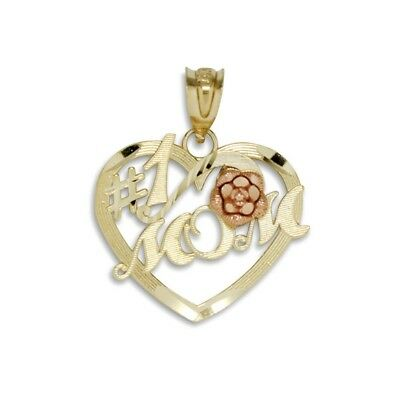 10K Solid Yellow Rose Gold Heart #1 Mom Pendant Number One Mother Necklace Charm