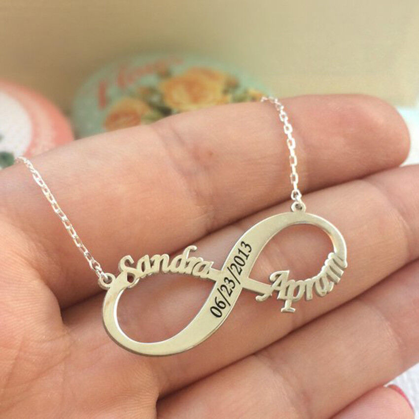 Custom Two Names Necklace Women Engraved Wedding Anniversary
