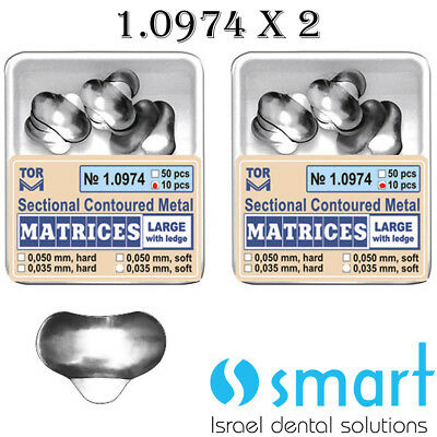Lot X 2 Sectional Contoured Metal Matrices Matrix Band Large With Ledge 1.0974