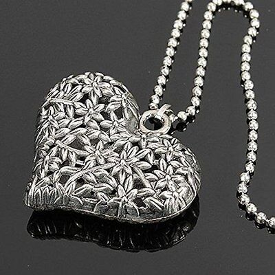Heart Pendant Necklace Chain Silver Rhinestone Jewelry Charm Valentines Day