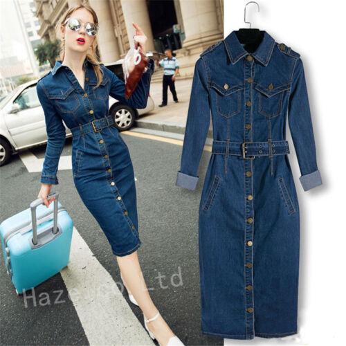 Women Stylish Lapel Jeans Long Dress Buttons Pockets Bodycon Denim ...