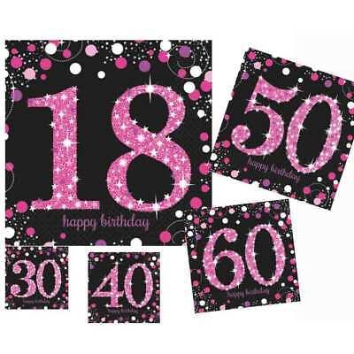 Glamour Pink SERVIETTEN Auswahl Party Set Pink Rosa Geburtstags Thema stilvoll