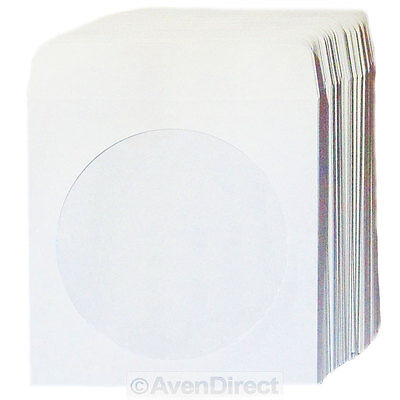 "100 Premium ""Mini"" White Paper Sleeve Window Flap For Mini CD-R or Mini DVD Disc"