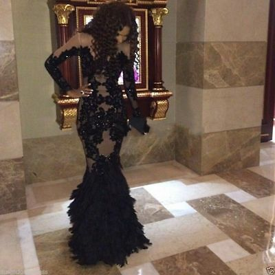 Black Mermaid Formal Pageant Party Evening Dress Wedding Prom Gowns Custom Made Custom Made Prom Dress