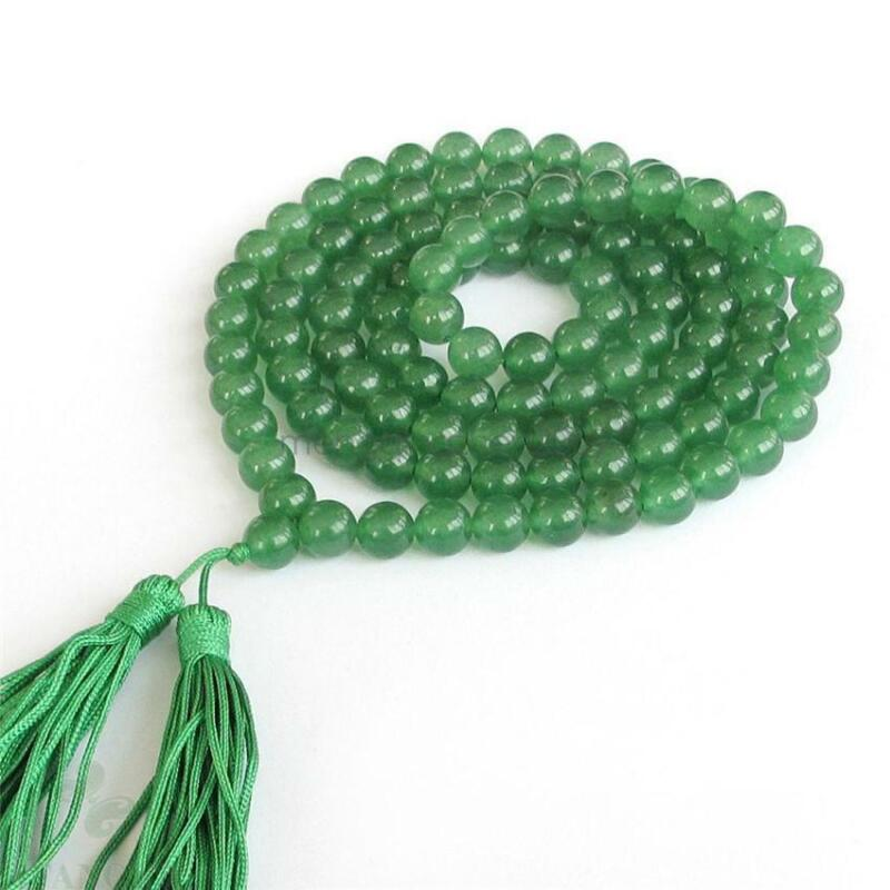8mm 108 Green jade Gemstone mala yoga Bracelet Healing Wristband Lucky pray
