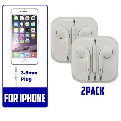 2pack Generic Headset Earphones Earbuds Headphones With Microphone for i phone (2 Headset Pack)