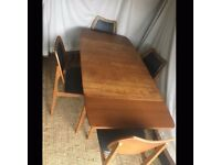 Retro Teak Extending Dining Table & 4 Chairs
