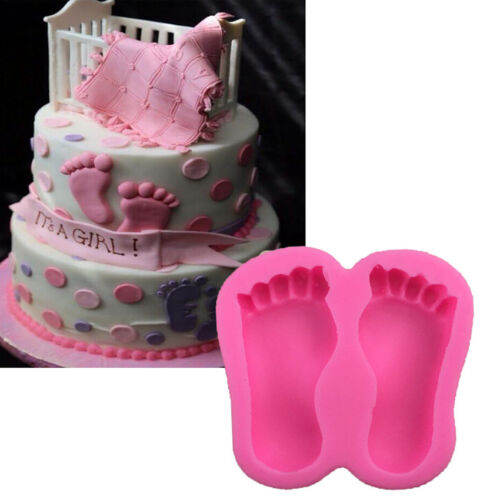 Funny Baby Shower Feet Silicone Fondant Mould Cake Decor Sugar Paste Icing Mold