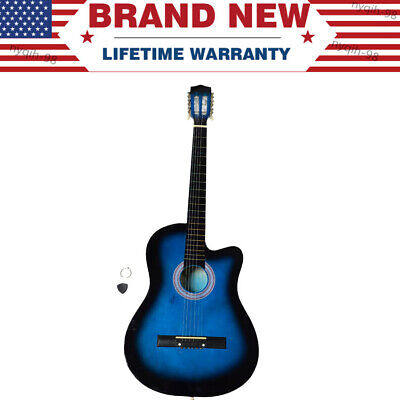 38 Inch 6-Strings Cutaway Acoustic Guitars with Guitar Plectrum Blue US Stock