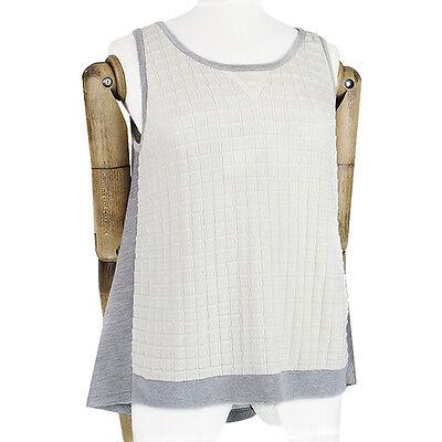 MRZ Ivory Grey Technical Knit Bias-Cut Floaty Back Tank Top Vest Knitwear S UK8