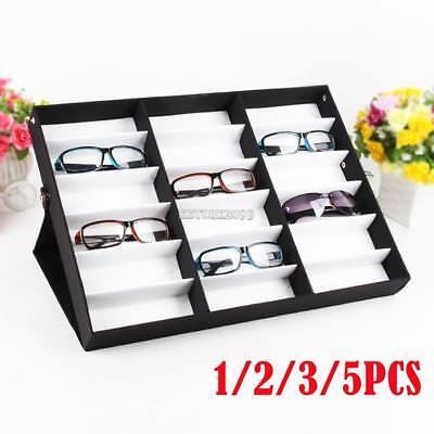 5x18 Slots New Storage Display Case Box Eyeglass Sunglass Glasses Frames Tray Us