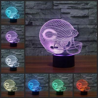 NFL Chicago Bears Helmet 3D illusion 7 Color Change LED Night Light Table Lamp Chicago Bears Table Lamp