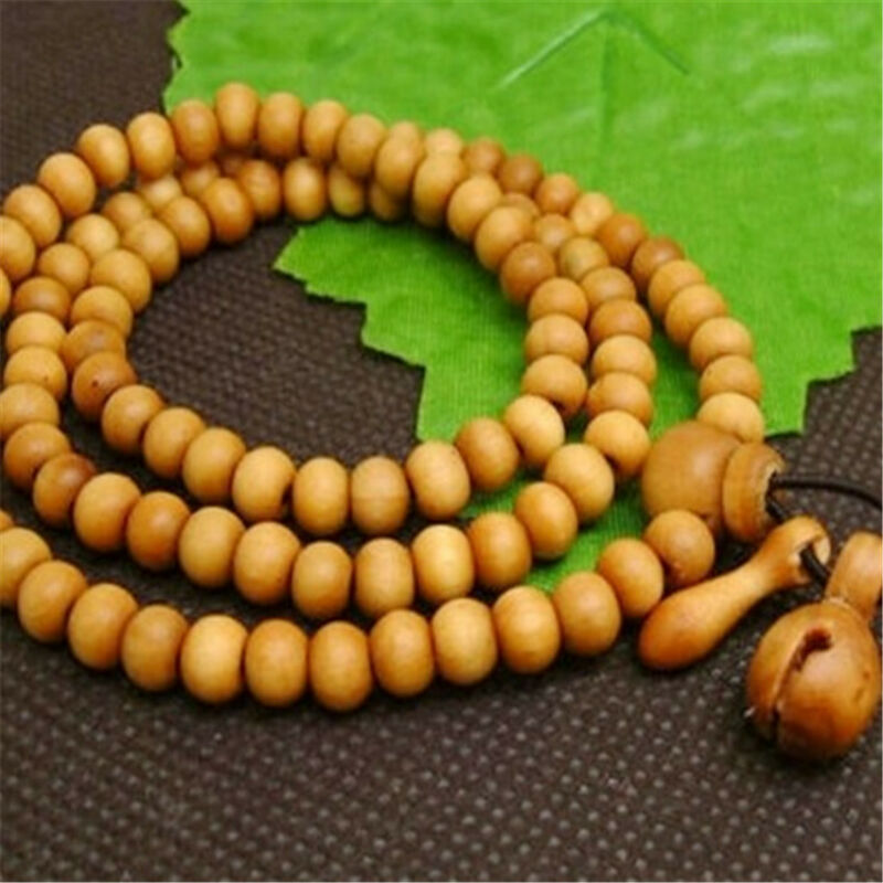 8mm Yellow sandalwood Bracelet 108 Beads natural cuff necklace Bless pray energy