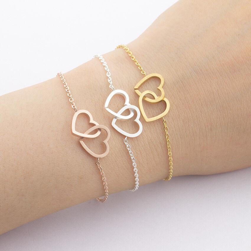 Herz Armband Damen Herzen Schmuck Edelstahl Liebe Armkette Kettchen Frauen
