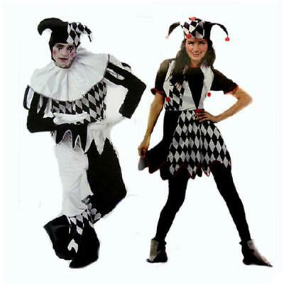 Adult Jester Clown Circus Mens Black+White Fancy Dress Costume Halloween Outfit (Black Man White Woman Halloween Costumes)