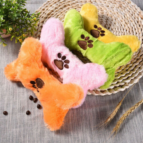 Cute Pet Dog Chew Fetch Toy Fluffy Bone Squeaky Sound Puppy Bite Play Plush Toys