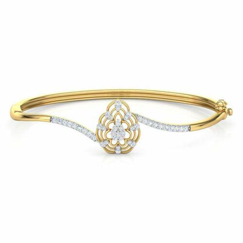 0.66ct Natural Diamond (K-L) Round Cut Bangle Bracelet 14k Yellow Gold SI2