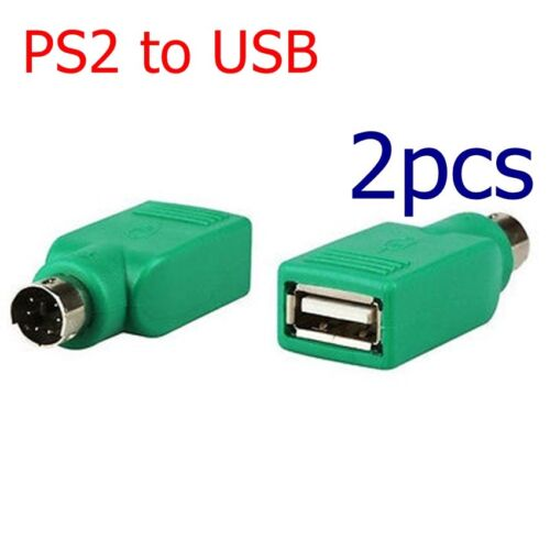 2pc USB 2.0 to PS2 Port Adapter Converter head for PC Keyboard Mouse charging