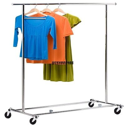 Commercial Steel Single Rail Clothing Garment Rolling Collapsible Rack Hanger Ix