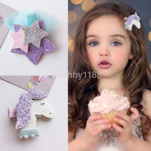 AU Unicorn Star Girls Hair Clips Hairpins Hair Accessories For Kids Baby Girls