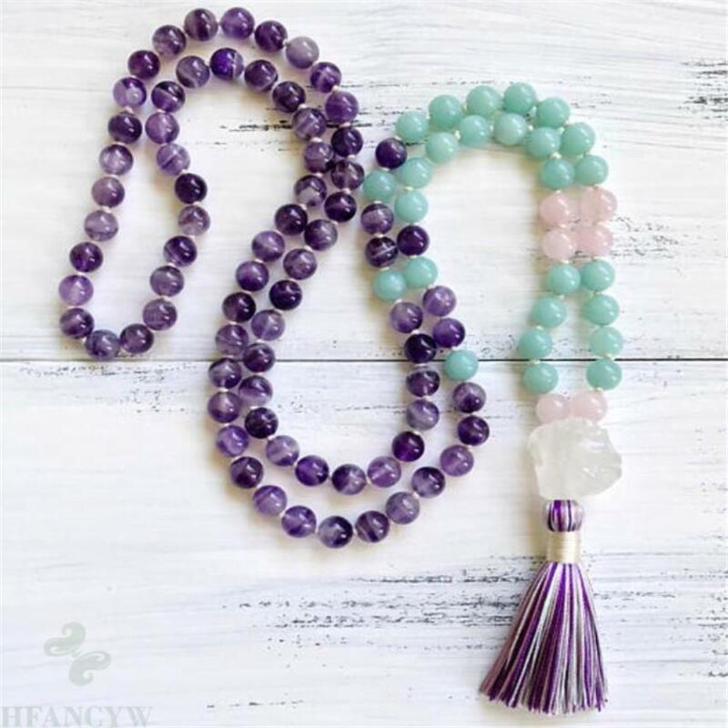 8mm 108 Amethyst Gemstone Aquamarine Mala Necklace tassel pray Unisex Fancy
