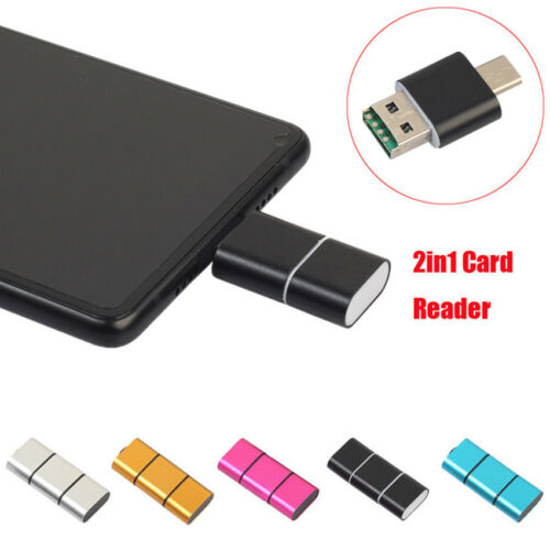 For Android Phone OTG Type C To USB 2.0 Micro SD TF Card Reader Adapter 5 Colors