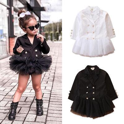 Girls Dress Suits (US Toddler Baby Girls Long Sleeve Blazer Tutu Dress Mini Skirt Suit Clothes)