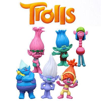 UK SELL 6PCS Dreamworks Movie Trolls Poppy Doll Action Figures PVC Kids Toy