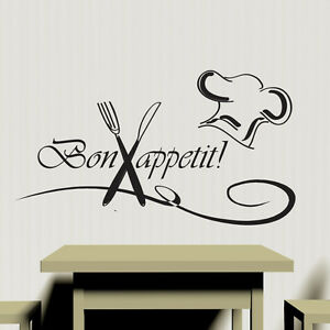 Bon Appetite Kitchen Wall Sticker Vinyl Decal Art Restaurant Pub Decor Cook