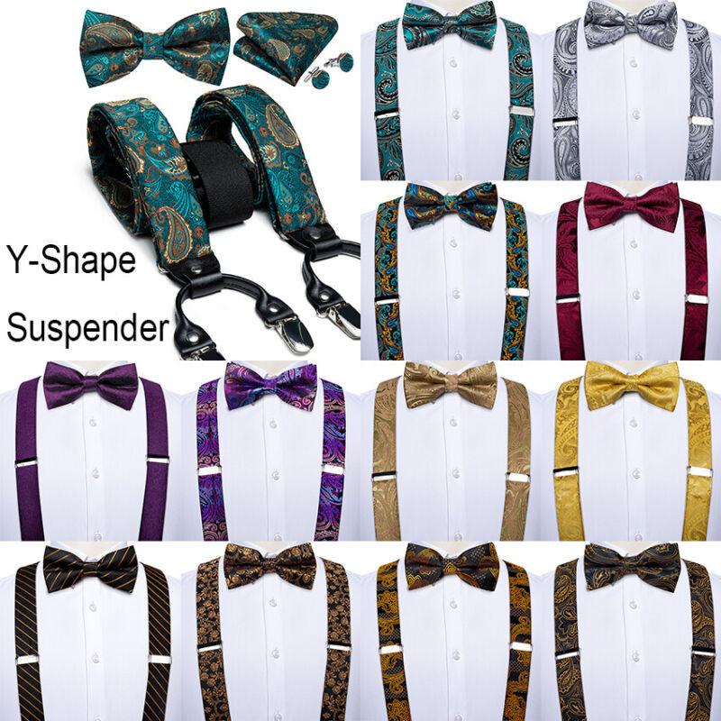 Mens Suspender Bow Tie Y Shape 6 Clips Adjustable Elastic Braces Hanky Cufflinks
