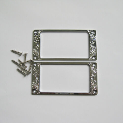 Hand engraved classical pattern silver color metal Humbucker Pickup Rings