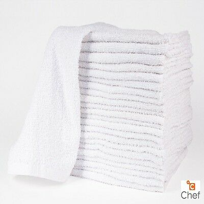 60 New Cotton White Terry Cloth Restaurant Premium Kitchen Cleaning Towels 32oz