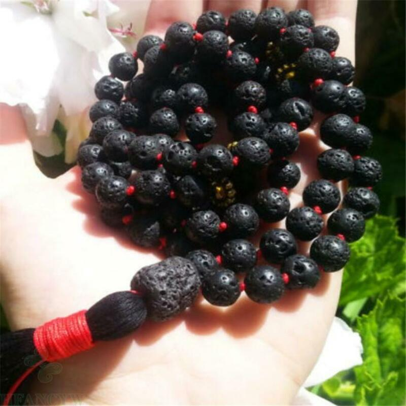8mm Black Lava Stone Knotted Tassel Mala Bracelet 108 Beads Handmade natural