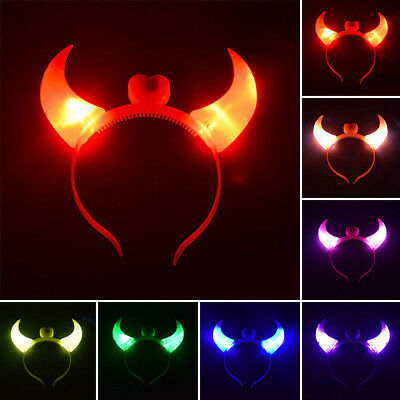 Cute LED Flashing Devil Ox Horns Headband Glow Hairpin Halloween Party Decors (Cute Halloween Flash)