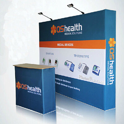 10ft Trade Show Booth Pop Up Display Backdrop Wall With Custom Graphic Print