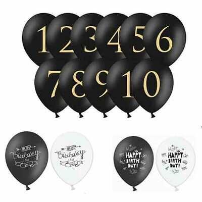 Luftballons schwarz mit Druck Zahlen Happy Birthday Geburtstag Dekoration Ballon ()