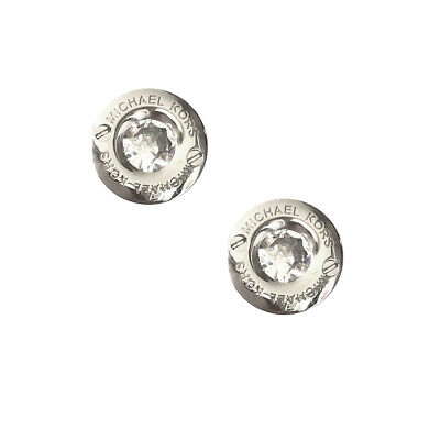 Auth NEW MICHAEL KORS SILVER Round Logo CZ Stud Earrings Dust Cover