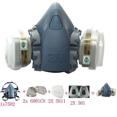 Gas Dust Mask 3M 7502 Spray Paint Half Face Filter Respirator Reusable Safety