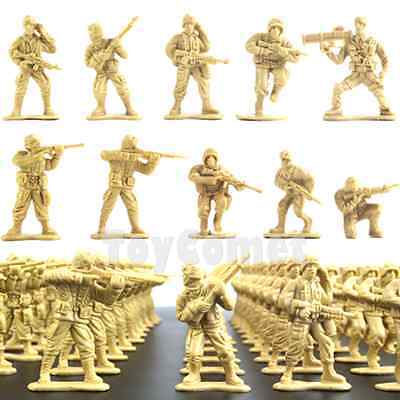 50 pcs Military Plastic Toy Soldiers Army Men Tan 1:36 Figures 10 Poses