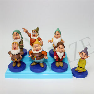 Lot-of-7-Snow-White-SEVEN-7-DWARFS-FIGURE-Rubber-Figurines-Vintage