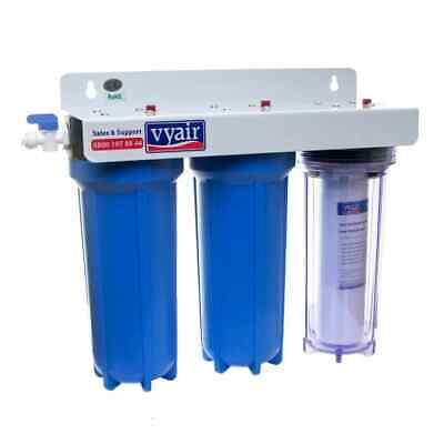 3 stage HMA Fish Pond Dechlorinator for Aquariums Water Purifier Vyair + Filters