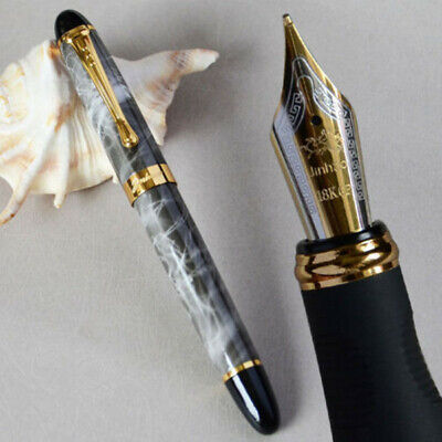 Marble Executive Pen - Jinhao X450 Executive Grey Marble Fountain Pen 0.7mm Broad Nib 18KGP Golden Trim