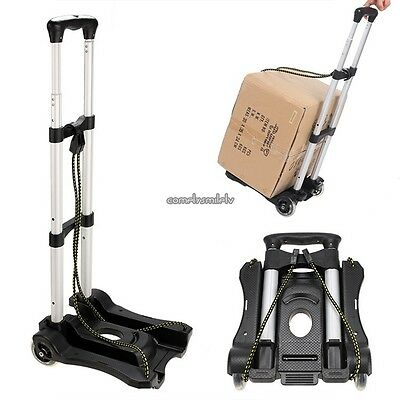 Folding Aluminum Hand Truck Trolley Luggage Cart Foldable With 2 Wheels