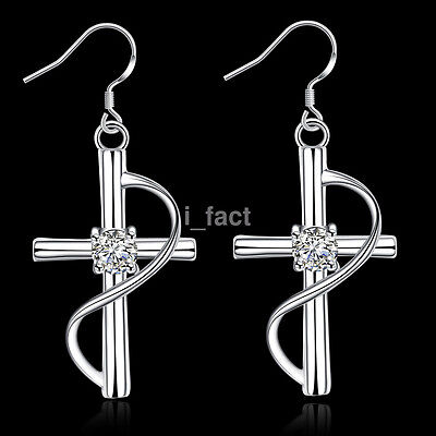Unique Simple Women 925 Silver Plated Cross Hook Dangle Earrings Fashion Jewelry