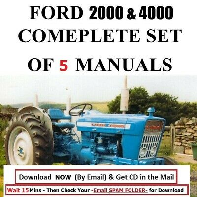 5 Ford 4000 Service Manual Tractors Service Parts Owners Manual 1965-1975 Cd