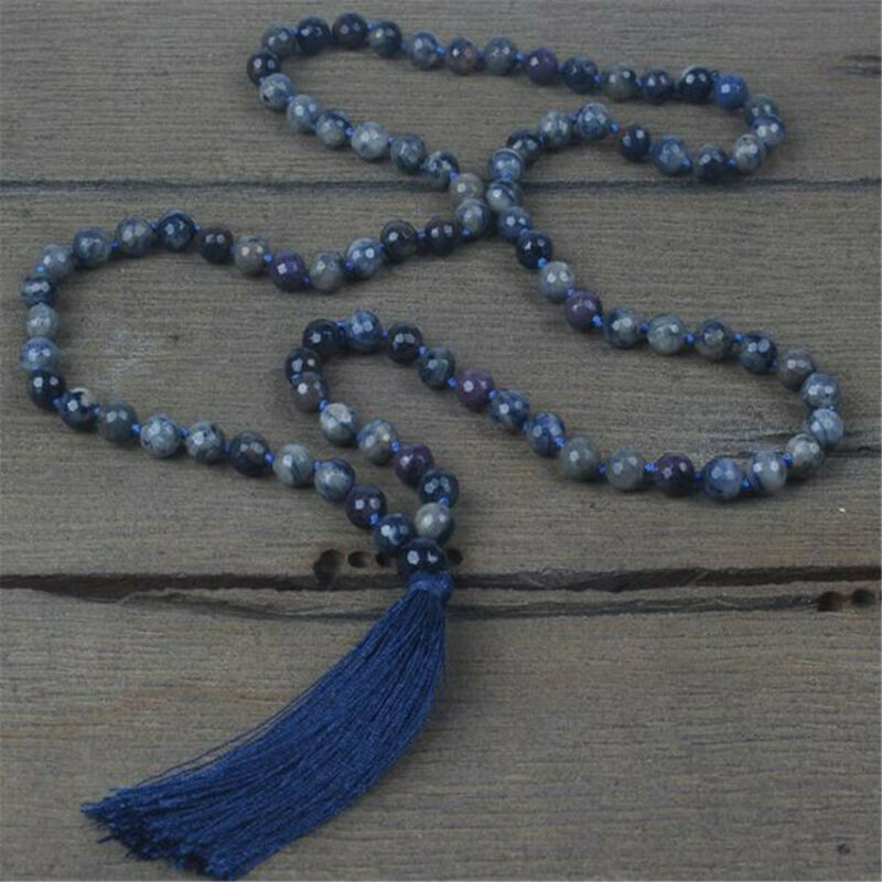 8mm section Black flash stone Gemstone 108 Beads Mala Necklace chain Lucky