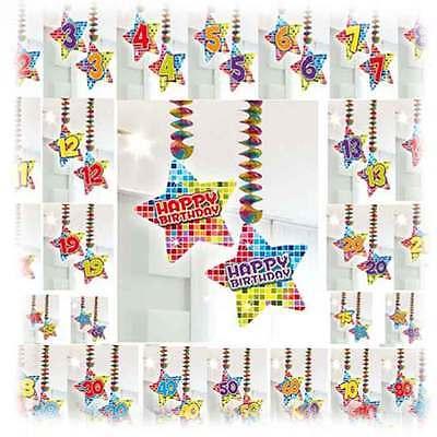 2 Rotor Spiralen Party Hänge Dekoration Wunsch Zahl Birthday Blocks Geburtstag ()