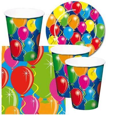 SET Einweg Geschirr Luftballons Stimmung Kinder Geburtstag (Kinder Party Geschirr)