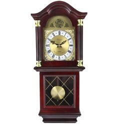 Chiming Wall Clock Battery Operated Clocks with Pendulum Grandfather Style Wood