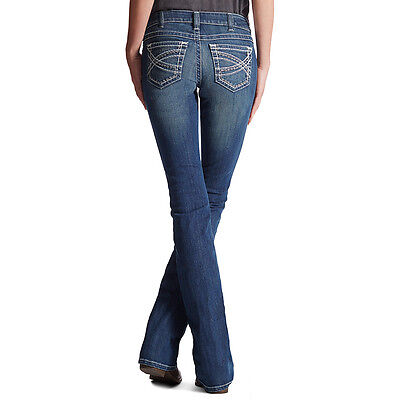 New Womens Ariat Real Mid Rise Entwined Boot Cut Denim   10017510